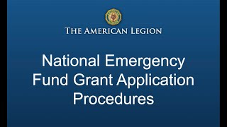 National Emergency Fund Grant Application Procedures
