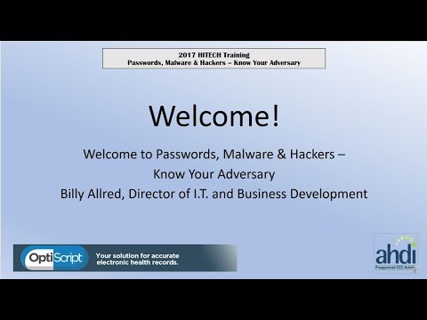 2017 HITECH Training - Passwords, Malware and Hackers