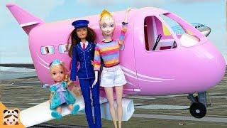 여행가자 아기 멀미했다? 엘사 엄마 아기 인형 바비 비행기 장난감 놀이 공주 주방 요리 놀이 Baby Doll Barbie Airplane Travel Car Toy | 보라미TV