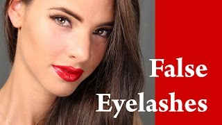 How to apply FAKE / FALSE eyelashes Coco Rocha Makeup Tutorial for Beginners with Red Lipstick Thumbnail