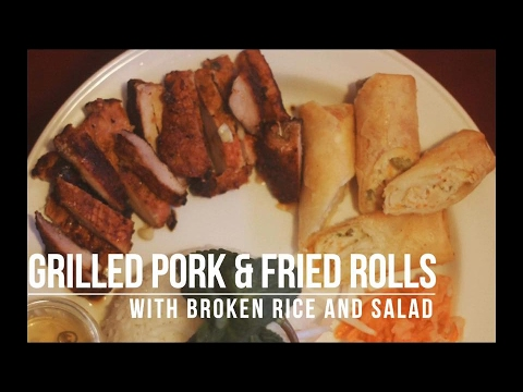 Grilled pork & Fried rolls with broken rice and salad