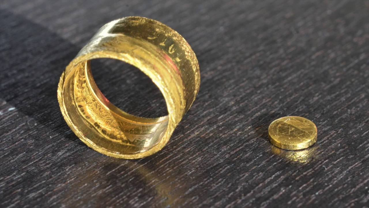 Making a gold coin ring - YouTube