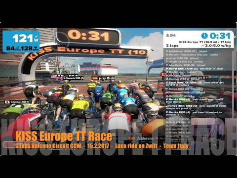 KISS Europe TT Race - 3 laps Watopia Volcano Circuit CCW - 15.2.2017 - Luca ride on Zwift