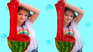 MASAL KARPUZ SLİME YAPTI - Kids pretend play with watermelon slime. Johny Johny Yes Papa Song