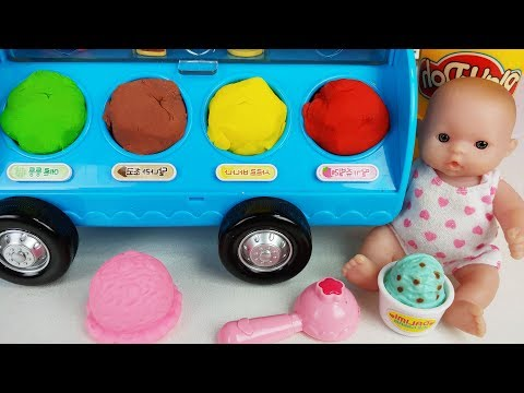 Baby Doll and Play doh Ice Cream car story music - ToyMong TV 토이몽