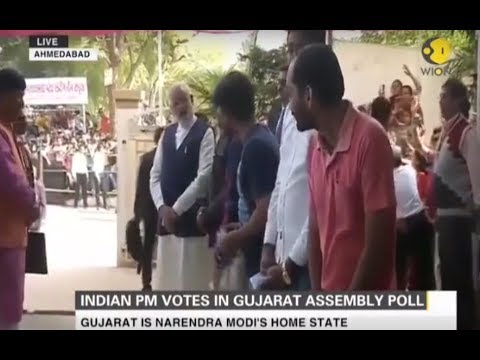 Indian Prime Minister Narendra Modi casts his vote for Gujarat Assembly elections in Ahmedabad