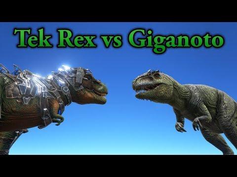 Tek Rex Vs Giganotosaurus! || ARK: Survival Evolved || Cantex
