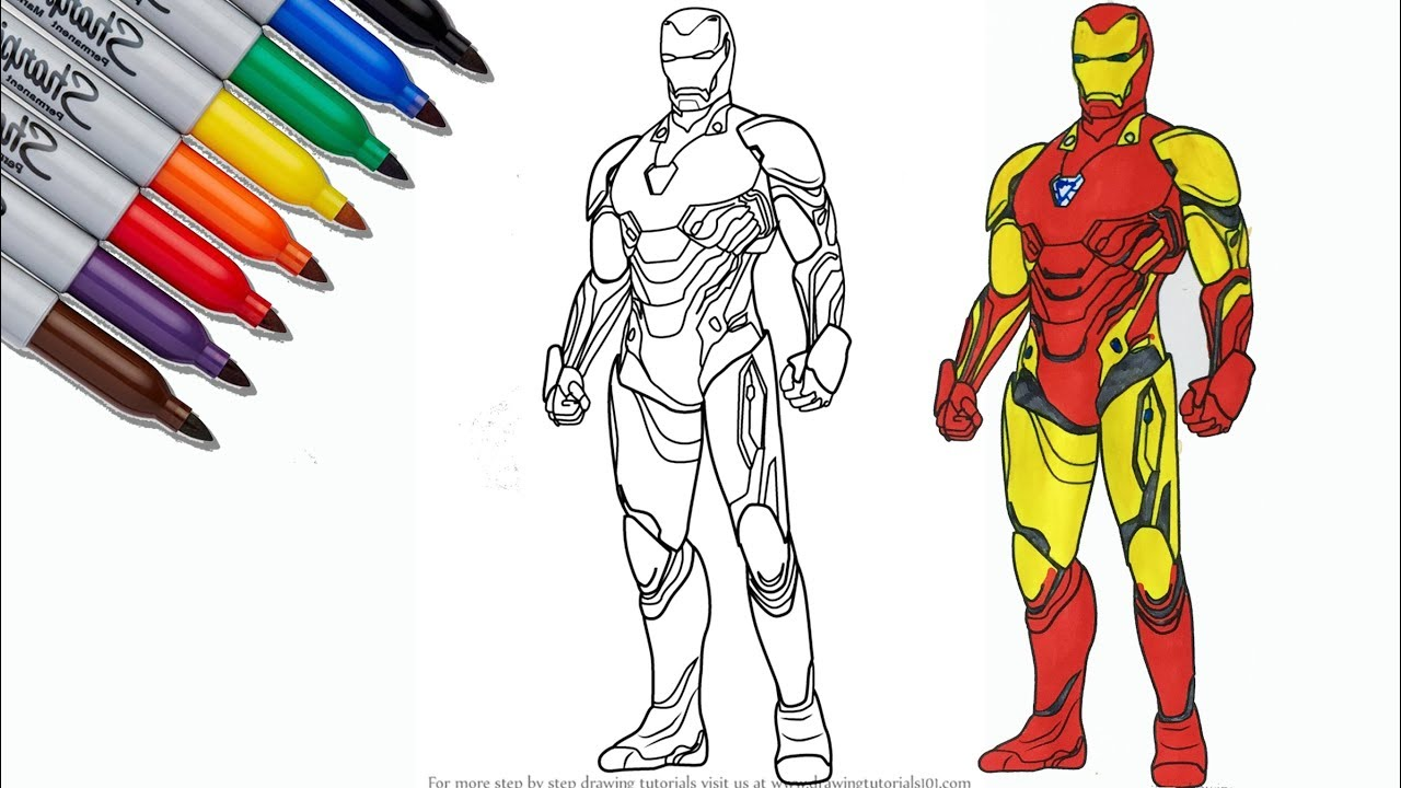 Iron Man New Suit The Avengers Endgame Coloring Pages Sailany Coloring Kids Youtube