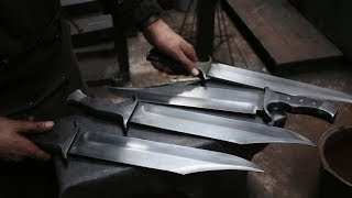 Forging 4 Bowie knifes form semi truck leaf spring steel part 4, sharpening and bring on the patina.