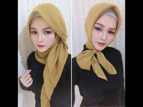 Hijab Tutorial Paris Segi Empat Modern dan Simple.