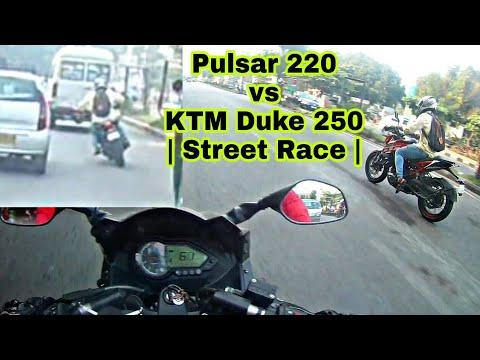 2017 KTM Duke 250 vs 2017 Pulsar 220f | Street Race | Helping Hands fc