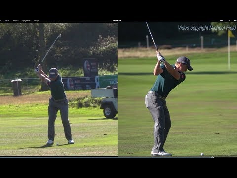 Paul Dunne golf swing - faded Short-Iron (DTL & FO), Sky Sports British Masters, October 2018.