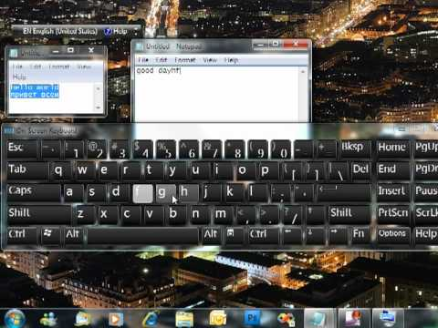 Virtual On-screen Keyboard in Windows 7 and Language Bar