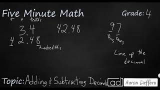4th Grade Math Adding and Subtracting Decimals