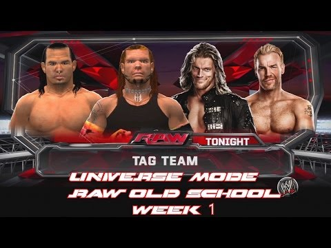 WWE 2K14 - Universe Mode Raw Old School Week 1 - The Hardy Boyz vs Edge and Christian