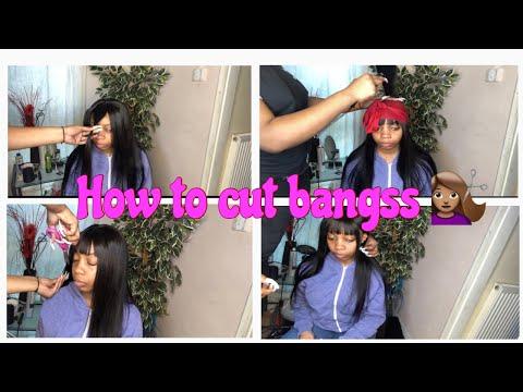 HOW TO CUT BANGS USING A CLOSURE WIG|Maxine Hair|Mercedes B