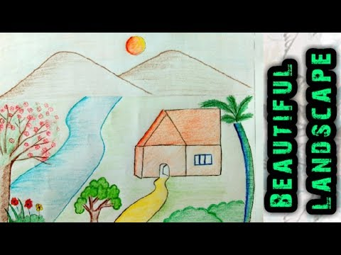 How to draw an easy beautiful landscape for kids I step by step I