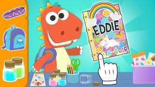 Aprende con Eddie a decorar la agenda escolar 📗🎒 DIY Eddie el dinosaurio Vuelta al cole