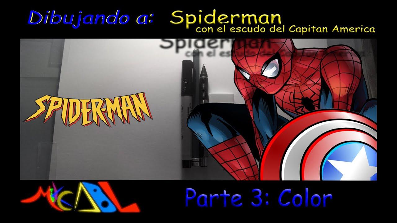 Dibujando a: Spiderman con el escudo del Capitan America - Color ...