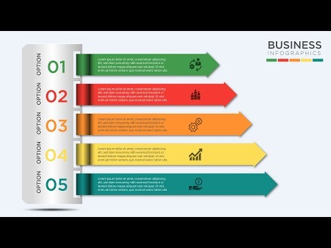 Modern Creative Business Infographics 5 Steps Vector Illustration - Illustrator Tutorial