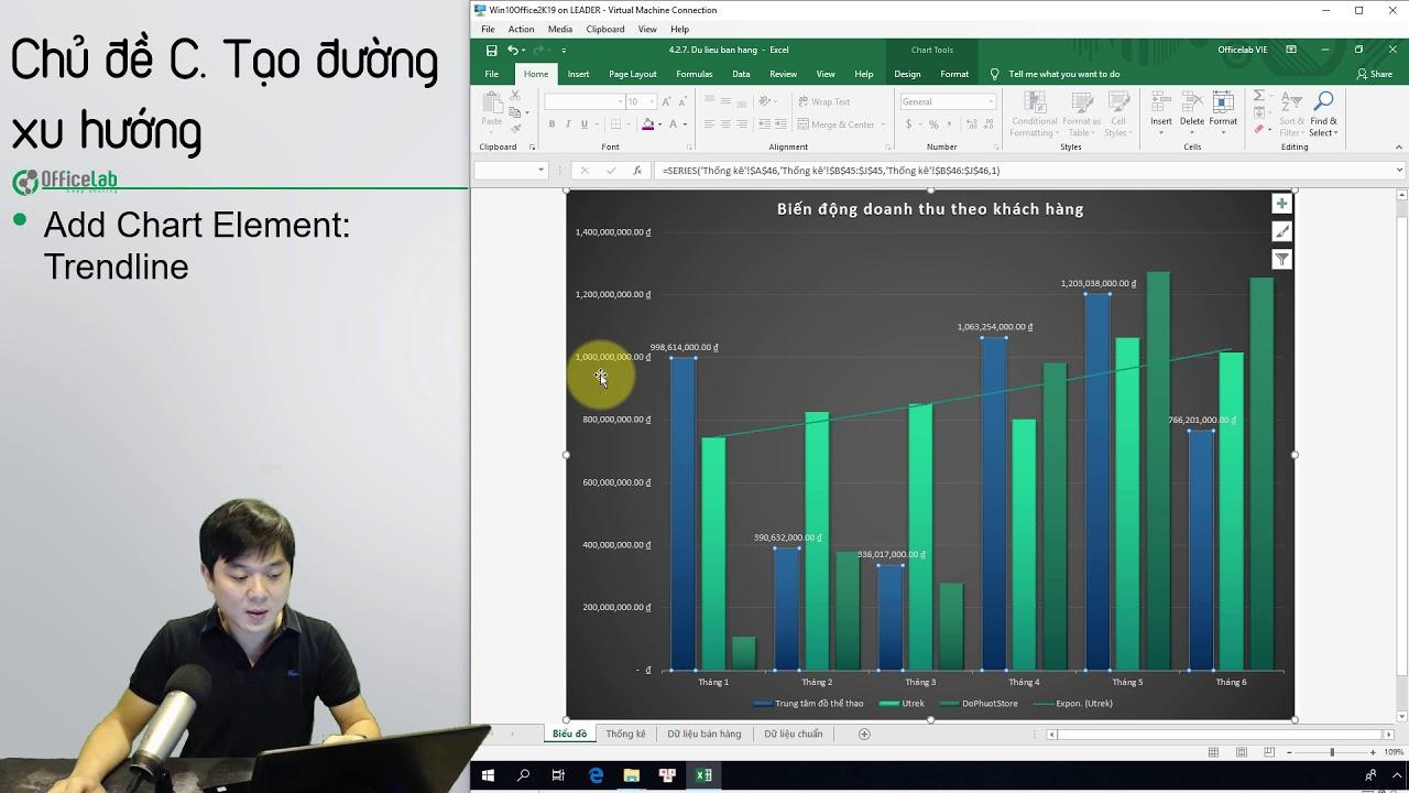 Học Excel 2: 4.3. Tạo đường xu hướng cho biểu đồ