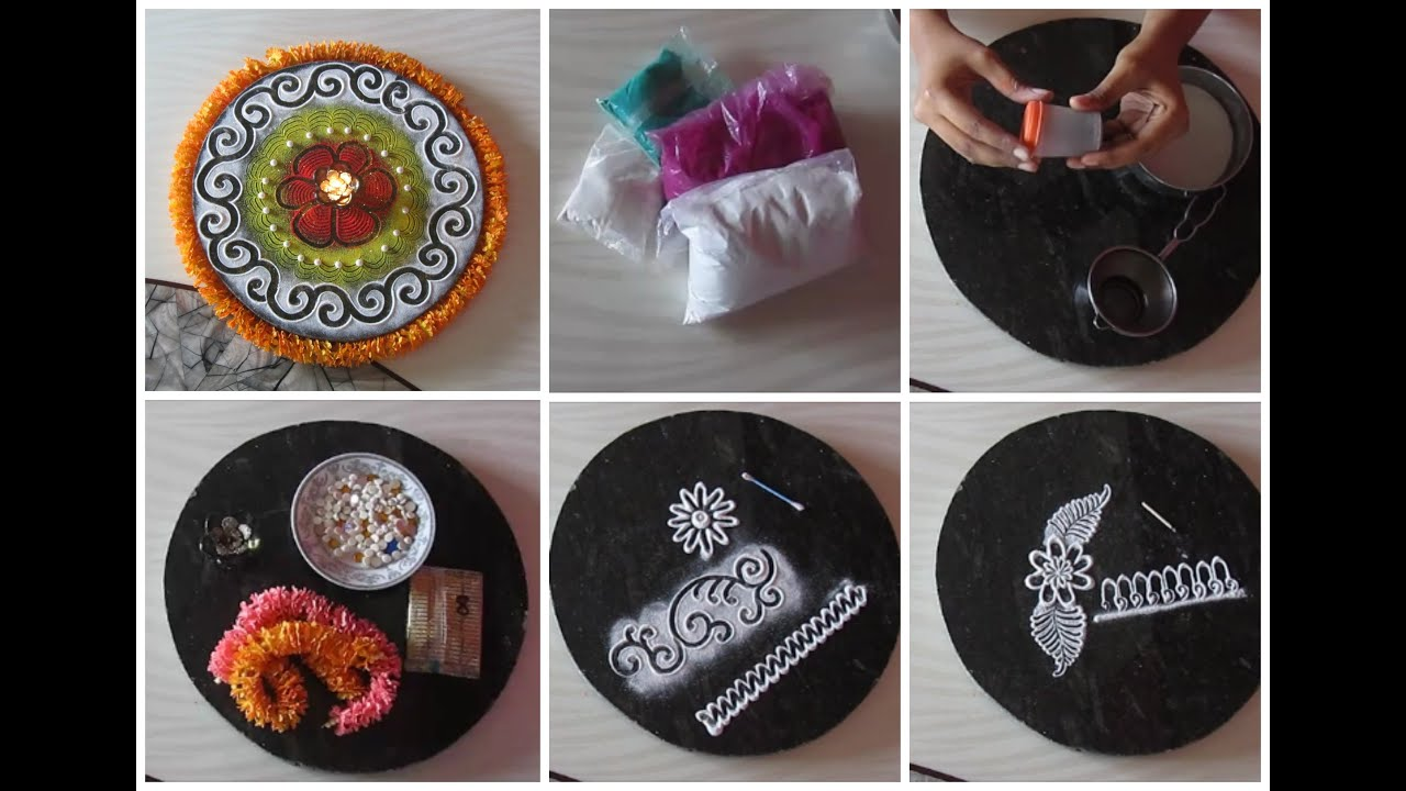 Rangoli colors rangoli making tools and how to use them for Home made rangoli designs