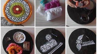 Rangoli colors | Rangoli making tools and how to use them | Accessorizing Rangoli designs