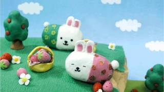 ウサコレのかわいいねんどアニメーションです。 「イチゴウサギそらをと...