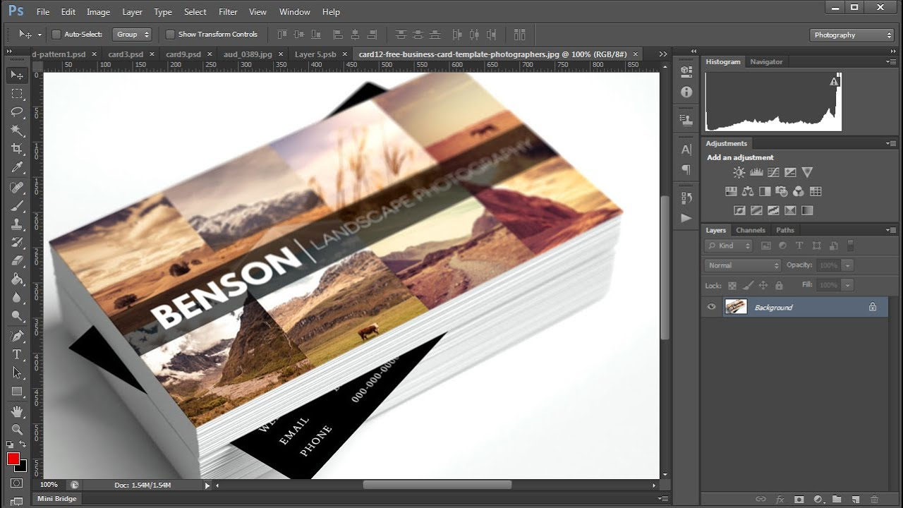 Editing Free Business Card Templates for Photographers - YouTube