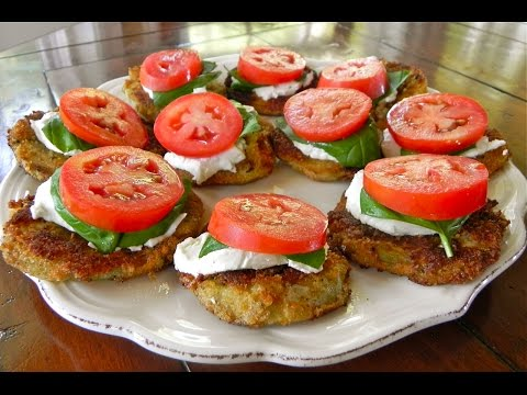 Crispy Eggplant With Goat Cheese, Tomato & Basil Appetizer