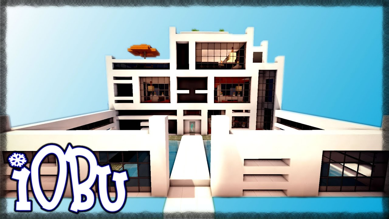 MODERN HOUSE WITH SUPER POOL Minecraft Timelapse Modern House