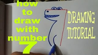 How to draw with number 7 | drawing tutorial