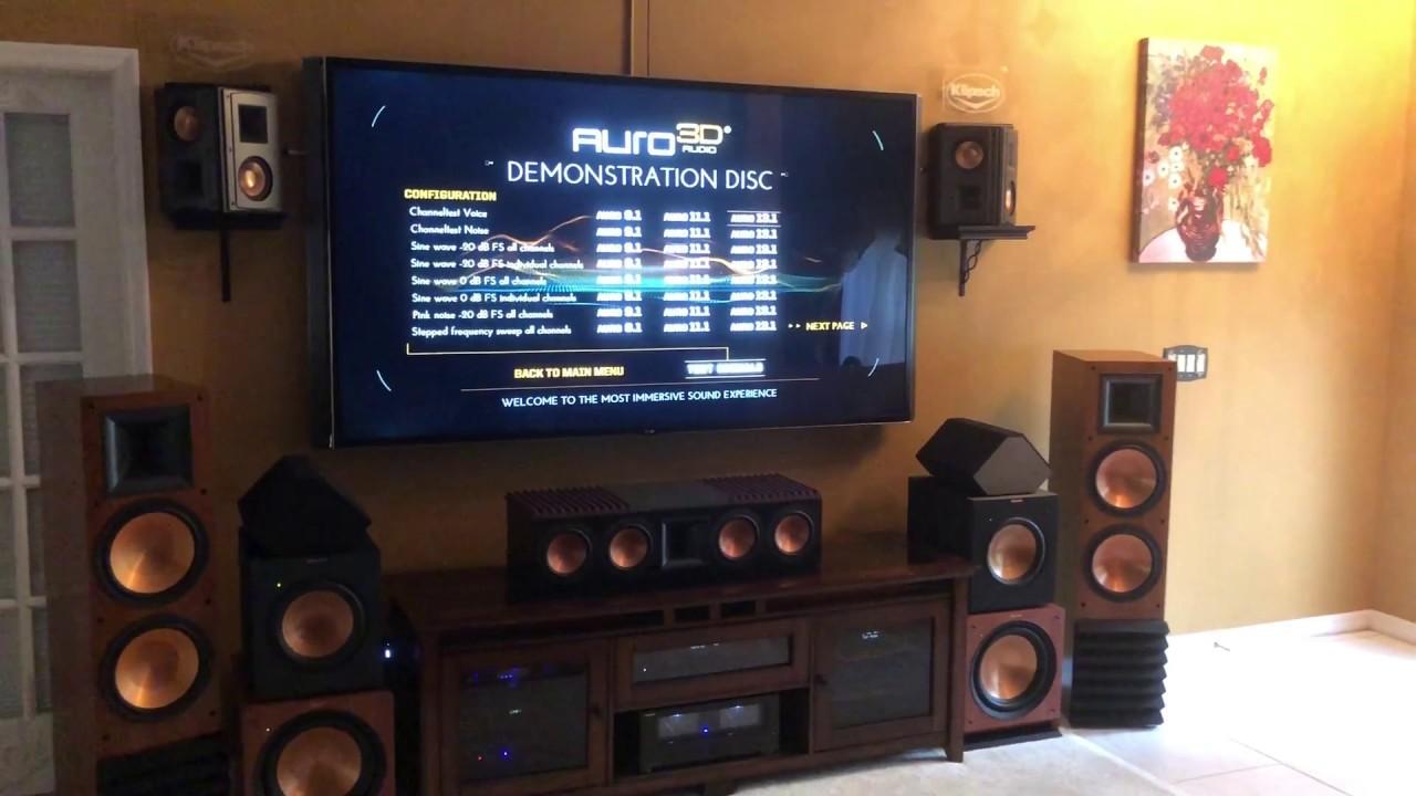 Speaker Test Denon 13 2 W Auro 3d Klipsch Rs 62 Youtube