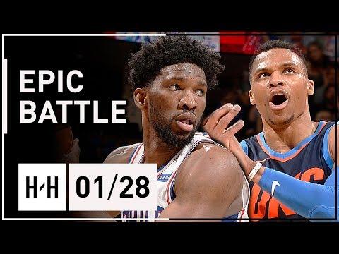 Russell Westbrook vs Joel Embiid EPIC Battle Highlights (2018.01.28) Sixers vs Thunder - INTENSE!