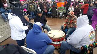 2018 Santa Fe New Mexico Women's March - Cedric Gomez and Pueblo de Cochiti Drum Clip 2