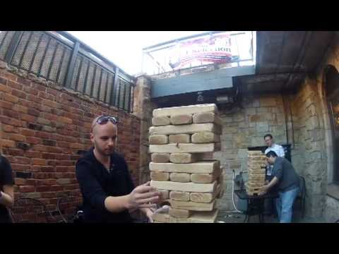 Giant Jenga Game at 1UP Bar & Pinball Arcade - YouTube