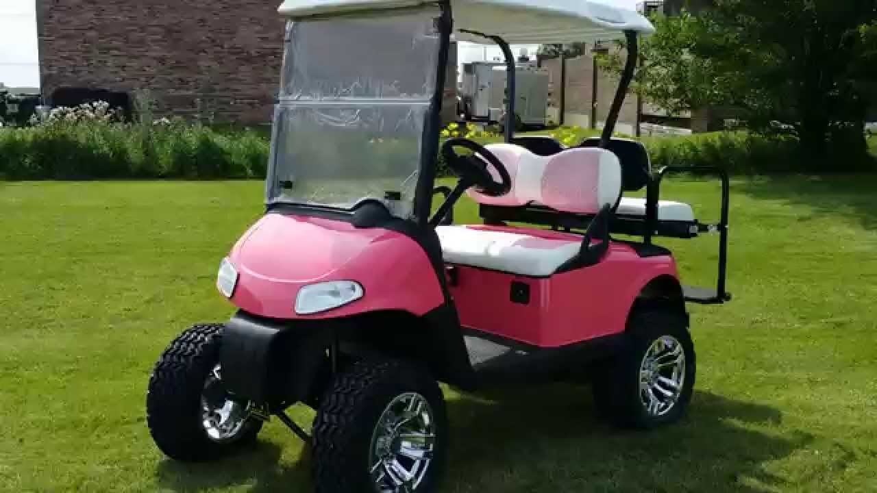 pink ez go gas golf cart with 13 hp kawasaki motor from safer wholesale [ 1280 x 720 Pixel ]