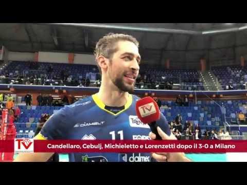 Candellaro, Cebulj, Michieletto e Lorenzetti dopo il 3-0 a Milano