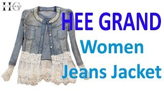 HEE GRAND Jeans Jacket Women Casacos Feminino Slim Lace Patchwork Beading Denim Lady Elegant Vintage