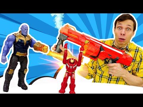 Видео для мальчиков - Танос уменьшил Железного Человека! – Игры стрелялки Нерф в Автомастерской.