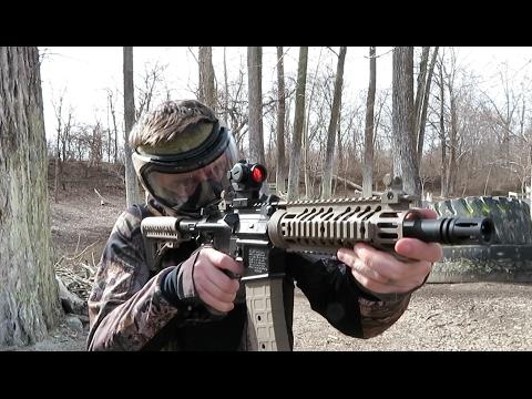 Shooting Tippmann TMC Paintball Gun - Magfed and Hopper