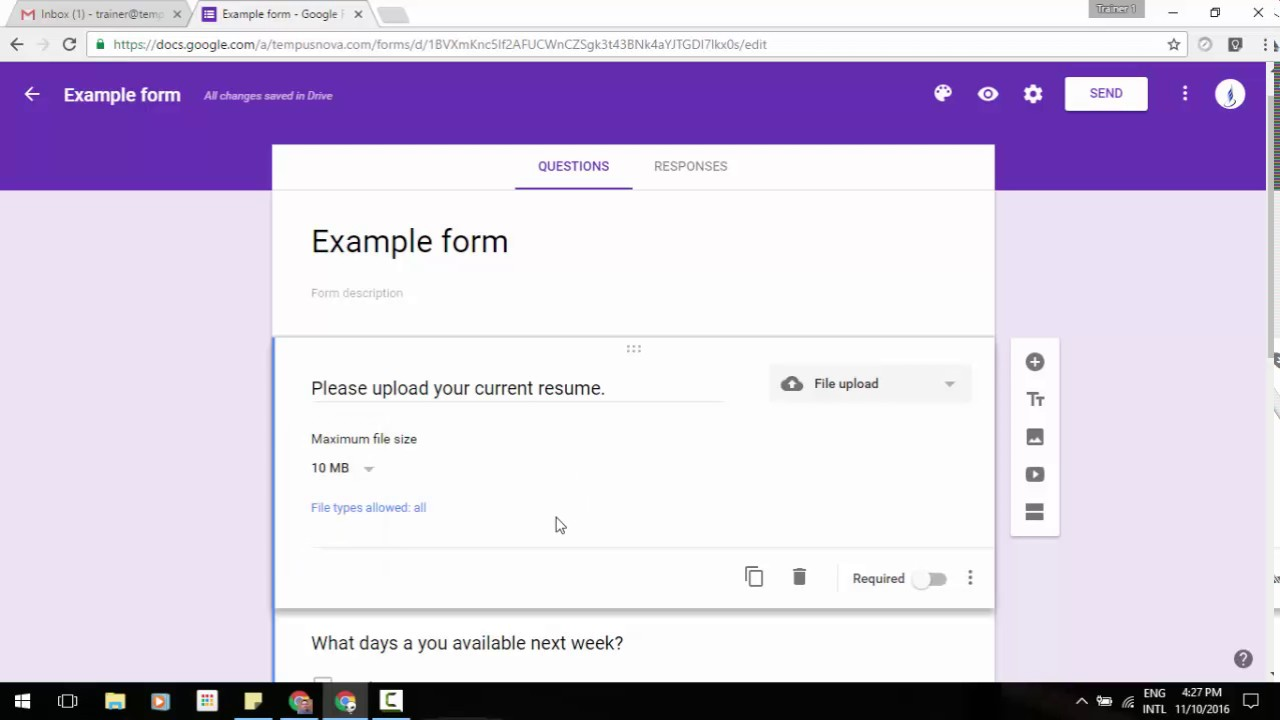 """The new """"File upload"""" question type in Google Forms!! - YouTube"""