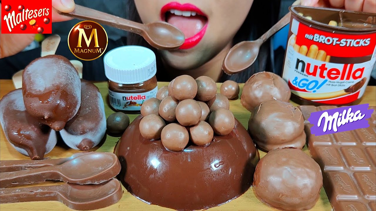ASMR NUTELLA JELLY CAKE, MAGNUM ICE CREAM, MALTESERS & MILKA CHOCOLATE MASSIVE Eating Sounds