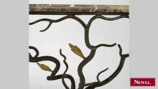Antique French 1940s Style Iron Console Table With Naturalis