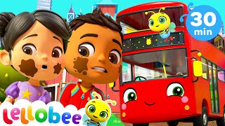 Wheels On The Bus! | +More Lellobee City Farm! - Cartoons and Kids Songs | Learning Videos For Kids