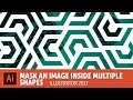 How to mask an image inside multiple shapes Adobe Illustrator