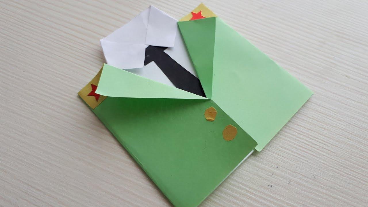 Открытка в технике оригами на 23 февраля