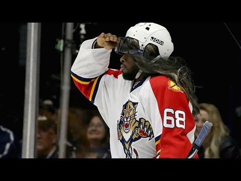 Subban dresses as Jagr in Breakaway Challenge