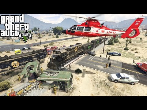 GTA 5   LS Fire Medevac Helicopter Responds To Mass Casualty Incident Involving A Train Into A Bus