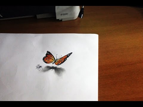 Drawing a 3d butterfly tutorial youtube for Disegno 3d free